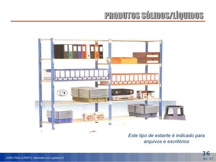 PRODUTOS SÓLIDOS/LÍQUIDOS Este tipo de estante é indicado para arquivos e escritórios