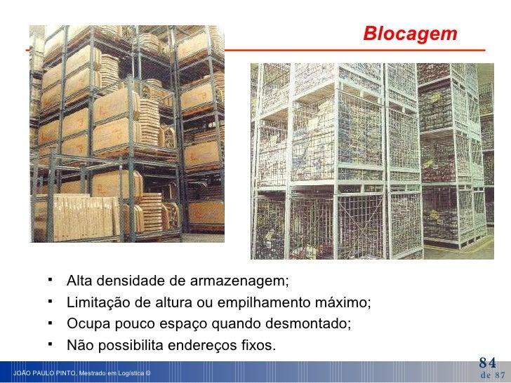 Blocagem <ul><li>Alta densidade de armazenagem; </li></ul><ul><li>Limitação de altura ou empilhamento máximo; </li></ul><u...