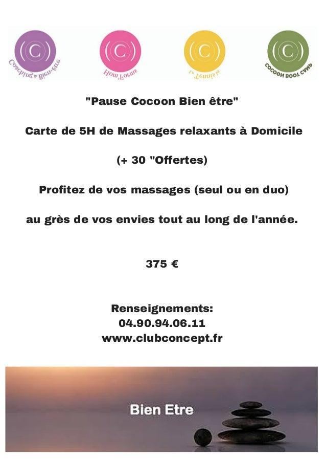 """""""Pause Cocoon Bien être"""" Carte de 5H de Massages relaxants à Domicile (+ 30 """"Offertes) Profitez de vos massages (seul ou e..."""