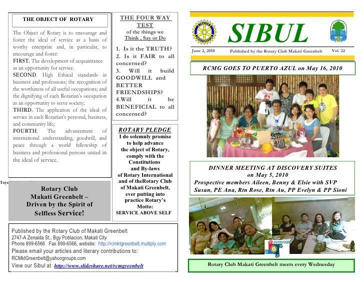Club Bulletin   June 9, 2010