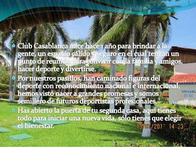 Servicios e instalaciones que ofrece el club Casablanca  Gimnasia  Natación  Tenis  Spa   yacusi