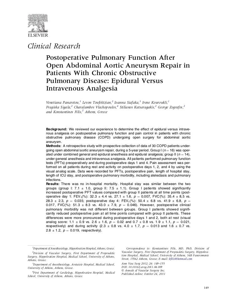 Clinical Research              Postoperative Pulmonary Function After              Open Abdominal Aortic Aneurysm Repair i...