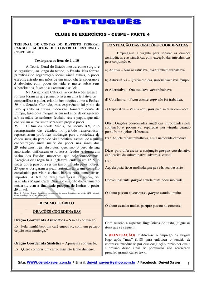 CLUBE DE EXERCÍCIOS – CESPE – PARTE 4 Site: WWW.deividxavier.com.br / Email: deivid_xavier@yahoo.com.br / Facebook: Deivid...