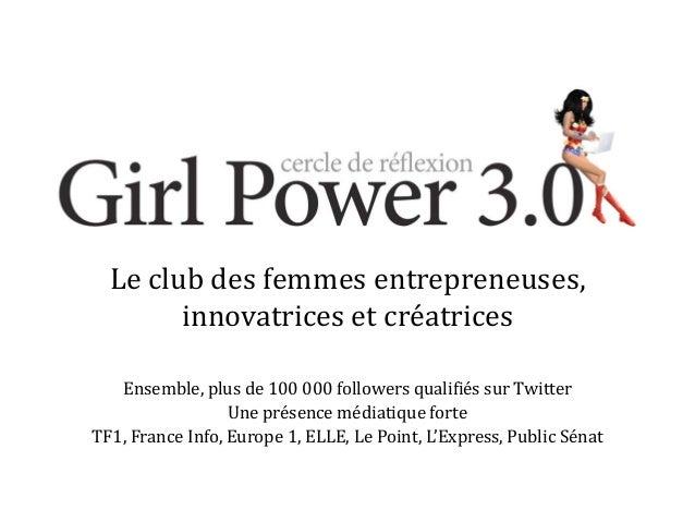 Le club des femmes entrepreneuses, innovatrices et créatrices Ensemble, plus de 100 000 followers qualifiés sur Twitter Un...