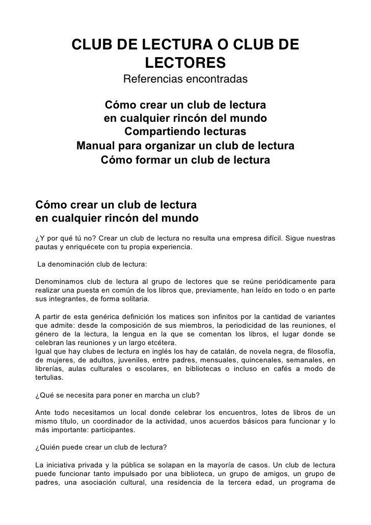 CLUB DE LECTURA O CLUB DE                    LECTORES                           Referencias encontradas                  C...