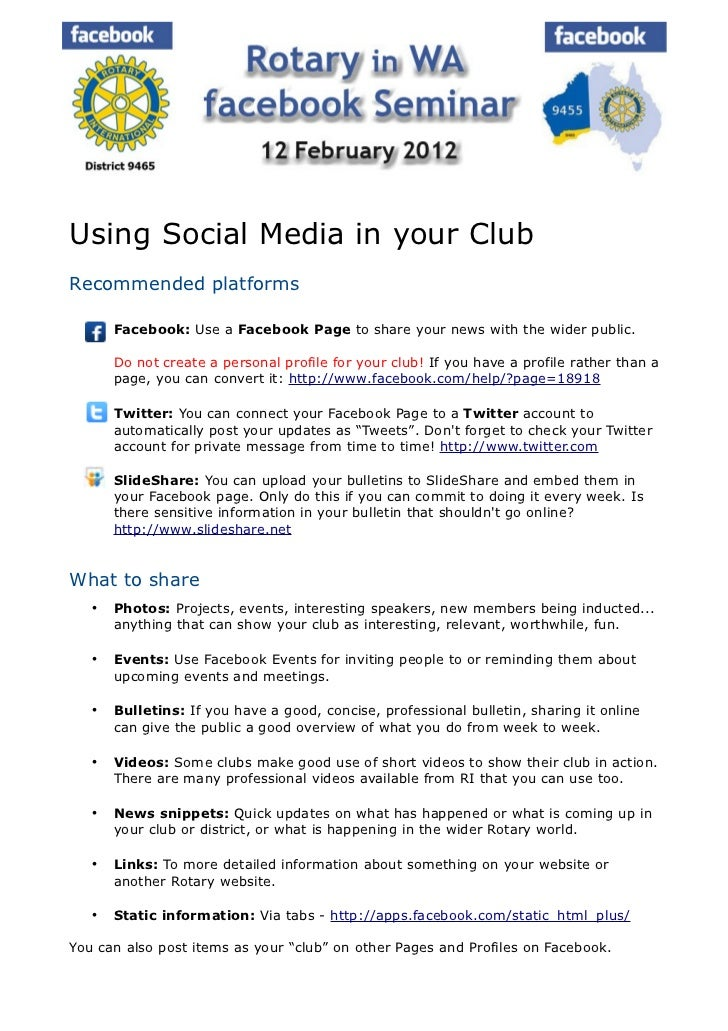 Using Social Media in your ClubRecommended platforms      Facebook: Use a Facebook Page to share your news with the wider...