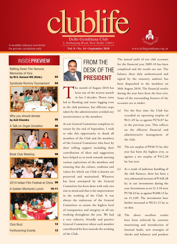 A monthly inhouse newsletter for private circulation only                                clublife       Delhi Gymkhana Clu...