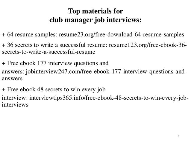 Club Manager Resume Sample Pdf Ebook Free Download