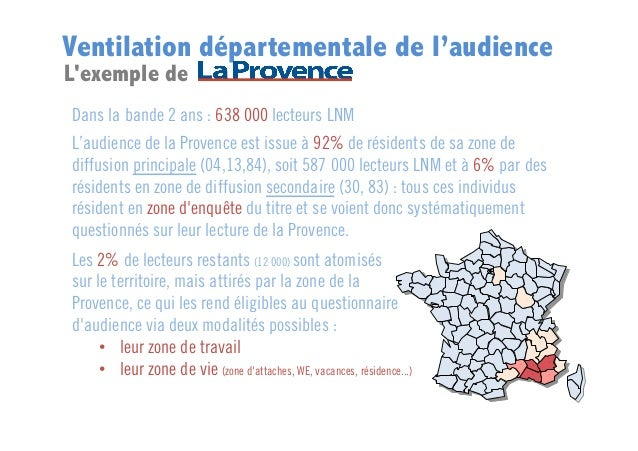 Ventilation départementale de l'audience L'exemple de  Dans la bande 2 ans : 638 000 lecteurs LNM L'audience de la Provenc...