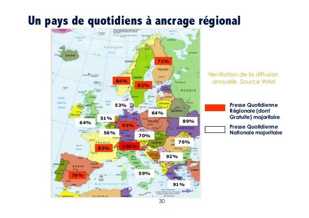 Un pays de quotidiens à ancrage régional 71%  84%  Ventilation de la diffusion annuelle. Source WAN  82%  53%  64%  64%  5...