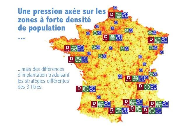 Une pression axée sur les zones à forte densité de population ...  ...mais des différences d'implantation traduisant les s...