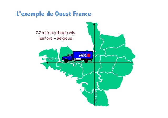 L'exemple de Ouest France 7,7 millions d'habitants Territoire = Belgique  440  Km    430  Km