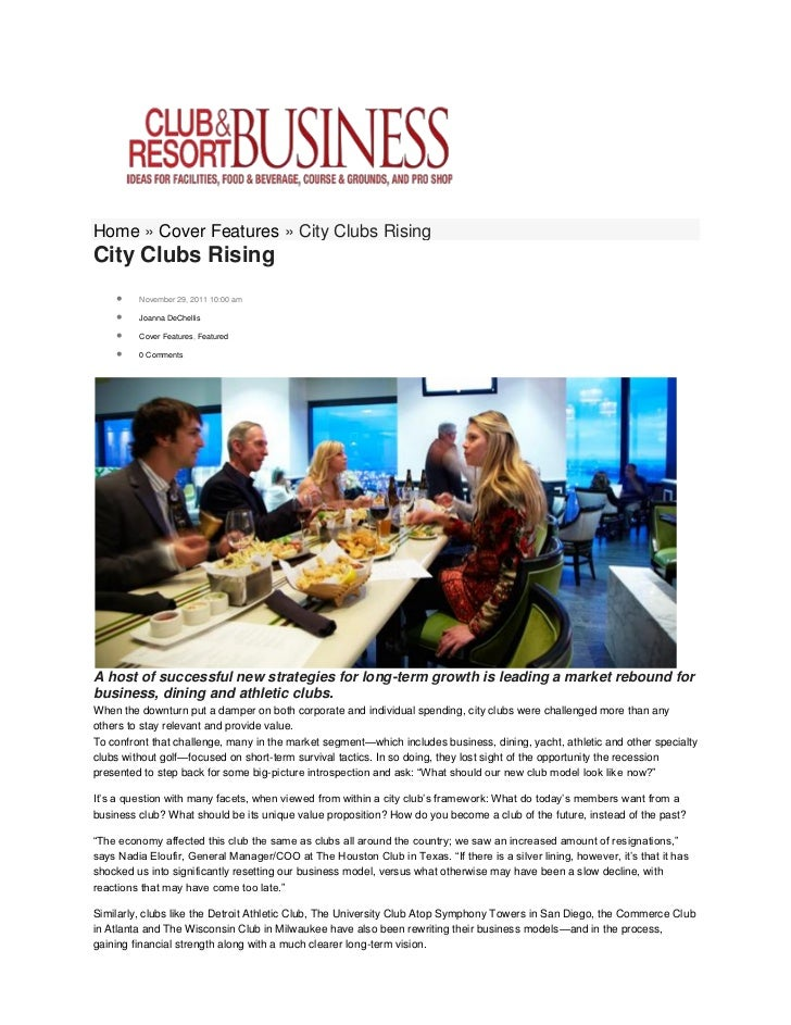 Home » Cover Features » City Clubs RisingCity Clubs Rising        November 29, 2011 10:00 am        Joanna DeChellis    ...