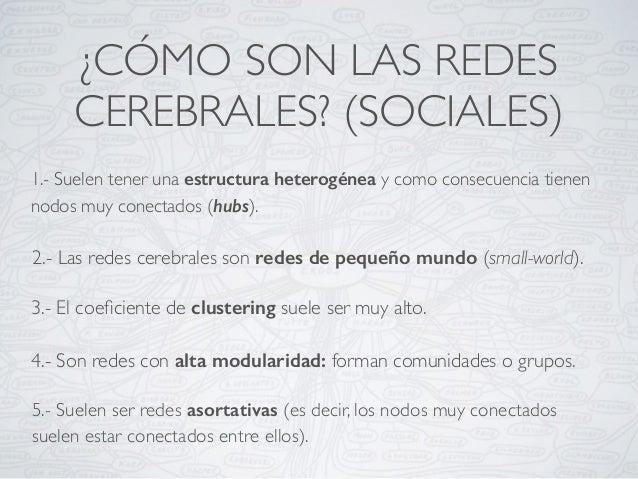 ¿CÓMO SON LAS REDES CEREBRALES? (SOCIALES) 1.- Suelen tener una estructura heterogénea y como consecuencia tienen nodos mu...