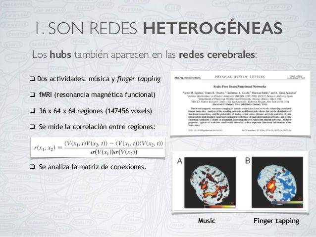 Los hubs también aparecen en las redes cerebrales: 1. SON REDES HETEROGÉNEAS ❑ Dos actividades: música y finger tapping ❑ ...