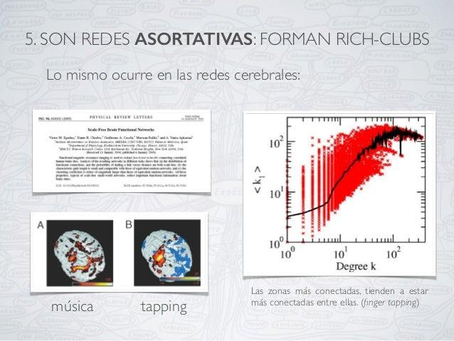 Lo mismo ocurre en las redes cerebrales: Las zonas más conectadas, tienden a estar más conectadas entre ellas. (finger tapp...