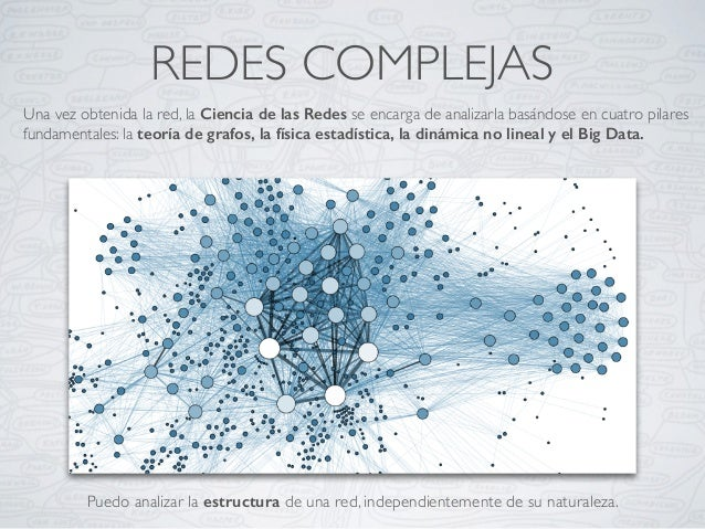 REDES COMPLEJAS Una vez obtenida la red, la Ciencia de las Redes se encarga de analizarla basándose en cuatro pilares fund...