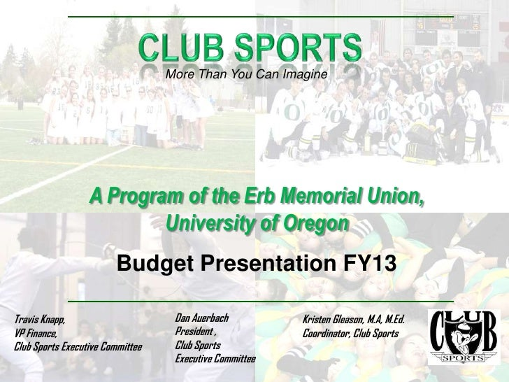 More Than You Can Imagine                  A Program of the Erb Memorial Union,                          University of Ore...