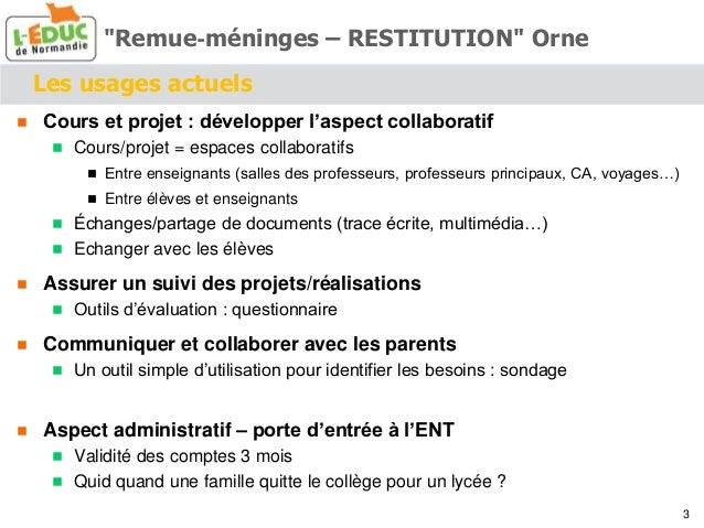 Les usages actuels  Cours et projet : développer l'aspect collaboratif  Cours/projet = espaces collaboratifs  Entre ens...