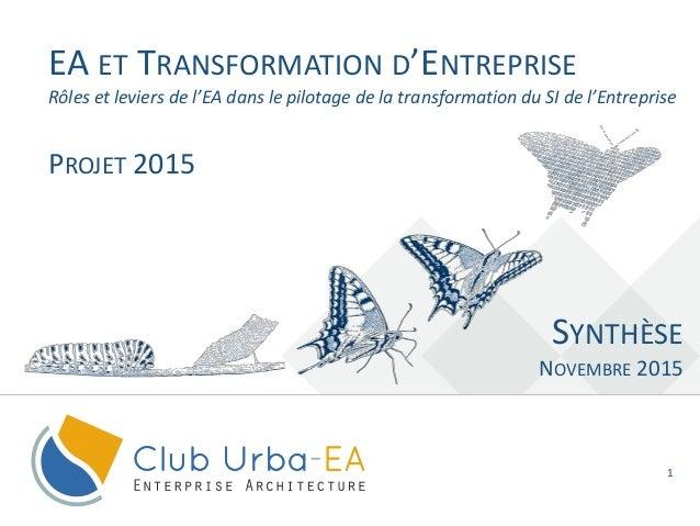 1 EA ET TRANSFORMATION D'ENTREPRISE SYNTHÈSE NOVEMBRE 2015 Rôles et leviers de l'EA dans le pilotage de la transformation ...