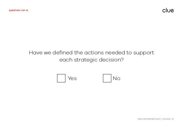 DOES YOUR STRATEGY SUCK? | CLUE 2020 10 QUESTION 7 OF 10 Have we defined the actions needed to support each strategic decis...