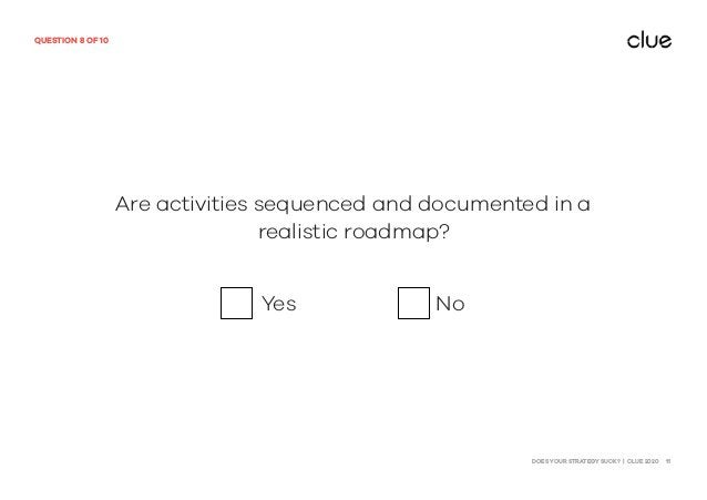 DOES YOUR STRATEGY SUCK? | CLUE 2020 11 QUESTION 8 OF 10 Are activities sequenced and documented in a realistic roadmap? Y...