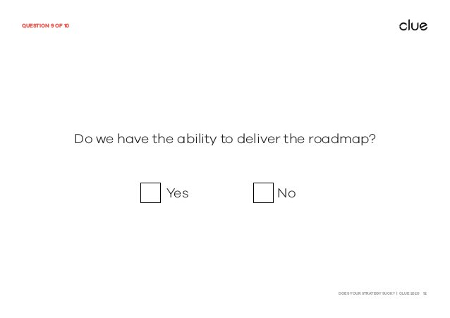 DOES YOUR STRATEGY SUCK? | CLUE 2020 12 QUESTION 9 OF 10 Do we have the ability to deliver the roadmap? Yes No