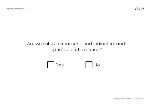 DOES YOUR STRATEGY SUCK? | CLUE 2020 13 QUESTION 10 OF 10 Are we setup to measure lead indicators and optimise performance...