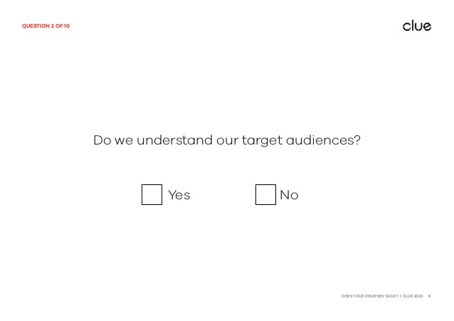 DOES YOUR STRATEGY SUCK? | CLUE 2020 5 QUESTION 2 OF 10 Do we understand our target audiences? Yes No