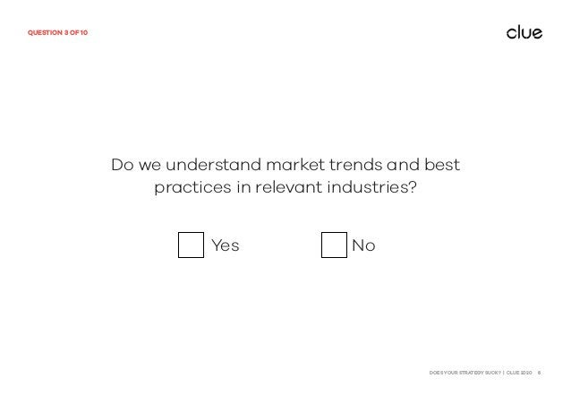 DOES YOUR STRATEGY SUCK? | CLUE 2020 6 QUESTION 3 OF 10 Do we understand market trends and best practices in relevant indu...