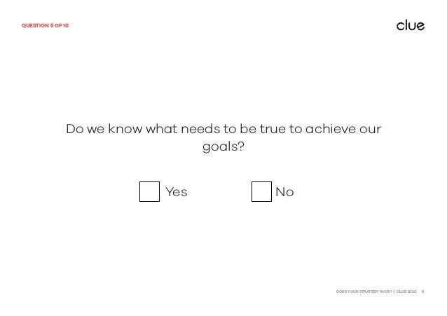 DOES YOUR STRATEGY SUCK? | CLUE 2020 8 QUESTION 5 OF 10 Do we know what needs to be true to achieve our goals? Yes No