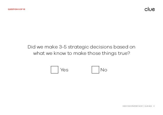 DOES YOUR STRATEGY SUCK? | CLUE 2020 9 QUESTION 6 OF 10 Did we make 3-5 strategic decisions based on what we know to make ...