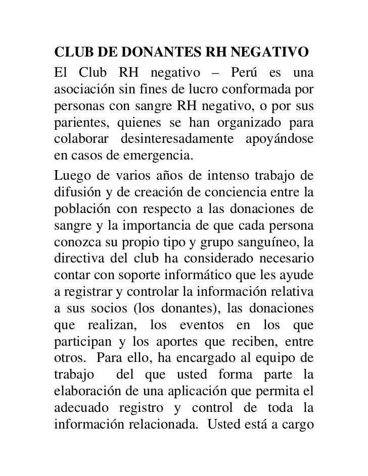 CLUB DE DONANTES RH NEGATIVOEl Club RH negativo – Perú es unaasociación sin fines de lucro conformada porpersonas con sang...