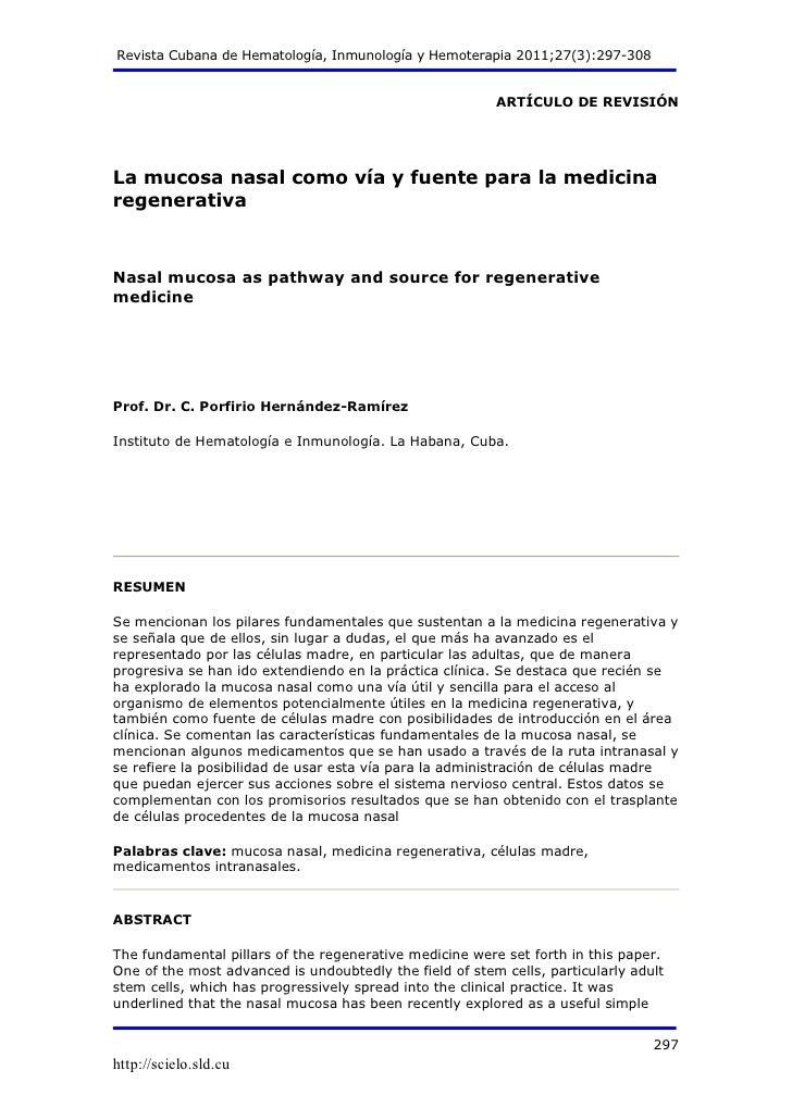 Revista Cubana de Hematología, Inmunología y Hemoterapia 2011;27(3):297-308                                               ...