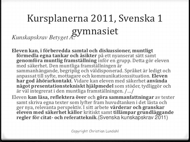 kunskapskrav svenska 1