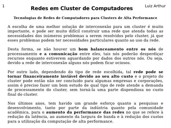 1                                                                     Luiz Arthur                Redes em Cluster de Compu...