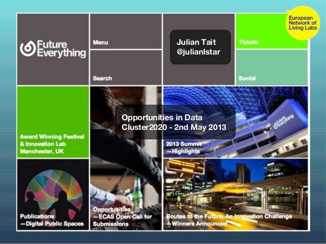 Julian Tait@julianlstarOpportunities in DataCluster2020 - 2nd May 2013
