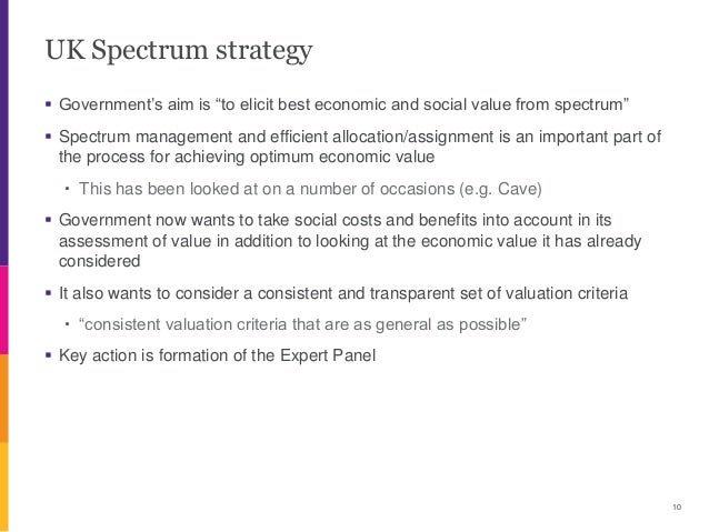 """UK Spectrum strategy  Government's aim is """"to elicit best economic and social value from spectrum""""  Spectrum management ..."""