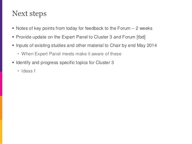 Next steps  Notes of key points from today for feedback to the Forum – 2 weeks  Provide update on the Expert Panel to Cl...