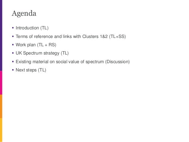 Agenda  Introduction (TL)  Terms of reference and links with Clusters 1&2 (TL+SS)  Work plan (TL + RS)  UK Spectrum st...