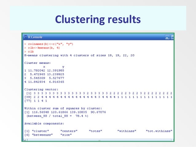 Clustering results