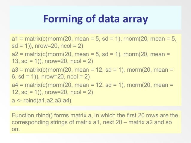 Forming of data array a1 = matrix(c(rnorm(20, mean = 5, sd = 1), rnorm(20, mean = 5, sd = 1)), nrow=20, ncol = 2) a2 = mat...