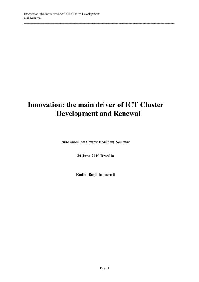 Innovation: the main driver of ICT Cluster Developmentand Renewal_________________________________________________________...