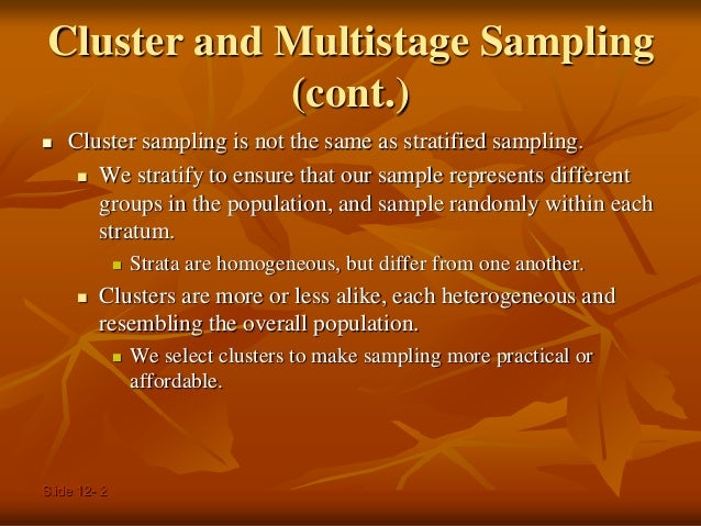 Cluster and multistage sampling
