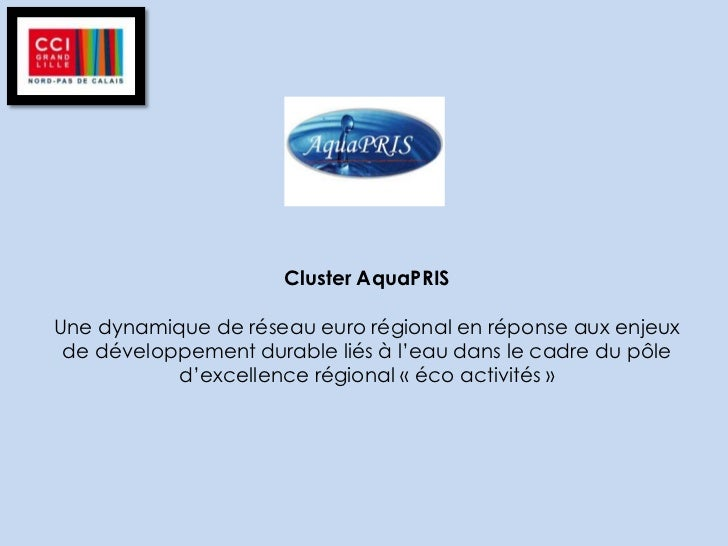 Cluster AquaPRISUne dynamique de réseau euro régional en réponse aux enjeux de développement durable liés à l'eau dans le ...