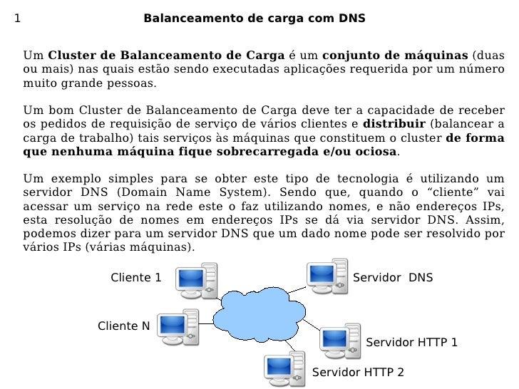 1                       Balanceamento de carga com DNS       Um Cluster de Balanceamento de Carga é um conjunto de máquina...