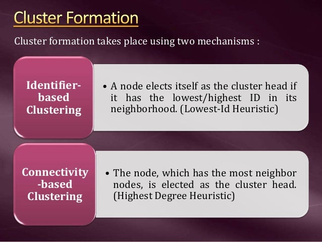 • A node elects itself as the cluster head if it has the lowest/highest ID in its neighborhood. (Lowest-Id Heuristic) Iden...