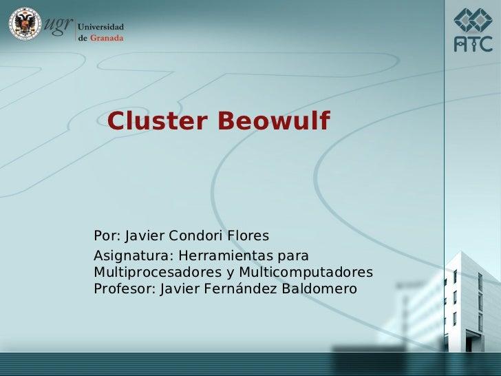 Cluster BeowulfPor: Javier Condori FloresAsignatura: Herramientas paraMultiprocesadores y MulticomputadoresProfesor: Javie...