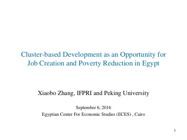 Cluster-based Development as an Opportunity for Job Creation and Poverty Reduction in Egypt Xiaobo Zhang, IFPRI and Peking...