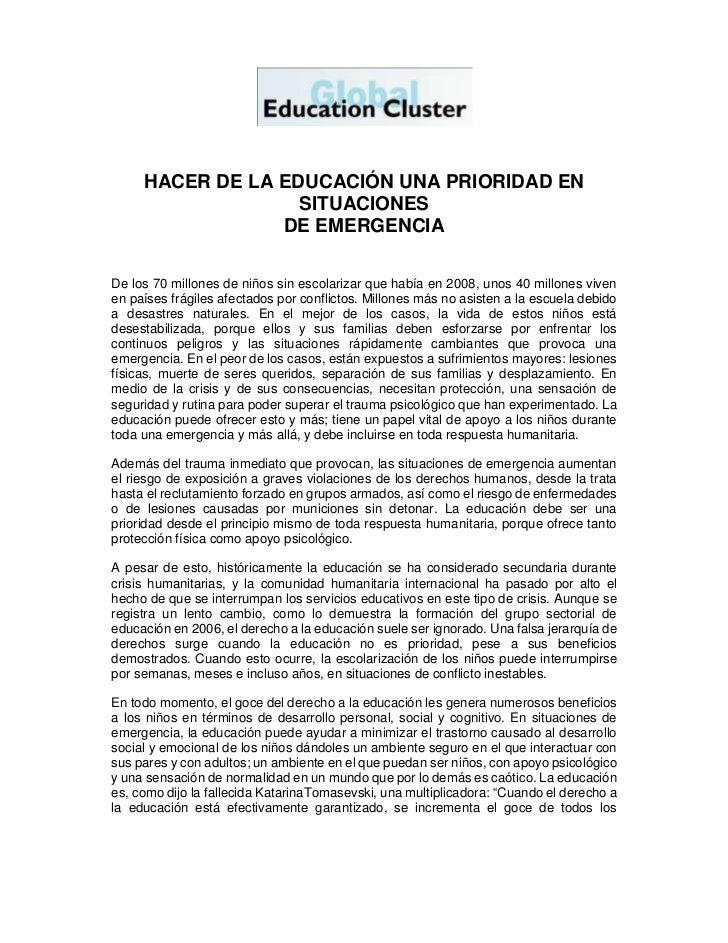 HACER DE LA EDUCACIÓN UNA PRIORIDAD EN                   SITUACIONES                 DE EMERGENCIADe los 70 millones de ni...